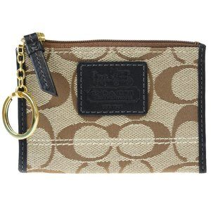 Coach Signature Key Ring Canvas,Leather Coin Purse